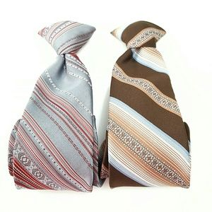 """Set of 2 Vintage Clip On Ties Sears Small 17"""" A14"""